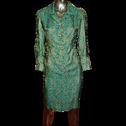 Vintage 1960's metallic brocade aqua gold coat dress gold rhinestone buttons