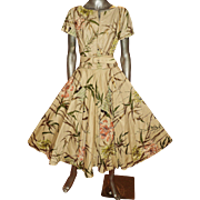 Vintage gold hand painted skirt ensemble Modern Jr Gale & gale skirt top & belt wild flowers