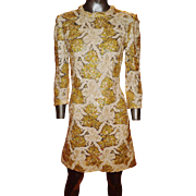 Vintage 1970's Fully embellished mod mini dress handmade lace sequins twiggy look