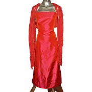 Vintage Couture Carolina Herrera Runway silk shantung gown with large fringed shawl shimmering red
