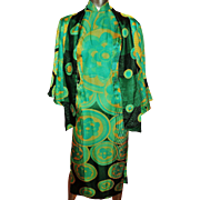 Vintage 1940's silk Cheongsam  Chipao dress and Jacket ensemble raised fabric