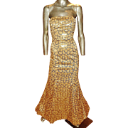 French Vintage designer Gold metallic mermaid gown fishtail sequin embroidery on voile