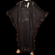 Vintage 1970's Caftan Coat/Dress ensemble ruffled chiffon kitten bow slit neckline dreamy