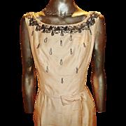 Vintage 1960's ballet pink silk Shantung Embellished dress front wrap kitten bow