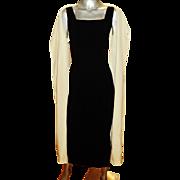 Vintage 1950's Silk Crepe Hostess maxi gown &  opera coat ensemble color block metal zipper
