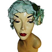Vintage 1940's millinery flower hat petals and blue rose knitted inside layer