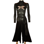 Vintage 1960's Jumpsuit with front sequined embroidered butterfly and long sash belt zipper back and sleeves
