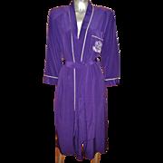 Vintage Natori purple Kimono/Robe sash belt crest embroidery on pocket crepe
