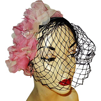 Vintage 1950's Demi Chapeau millinery flowers silk satin netting and demi combs