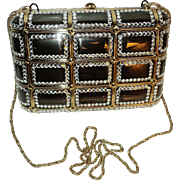 Vintage Jeweled rhinestone metal purse/clutch gun metal color gold chain velour lined