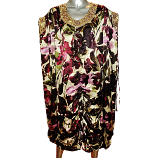 Vintage Badgley Mischka Couture Runway silk Caftan Gown heavily embellished gold crystal bead embroidery