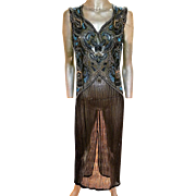 Vintage silk Flapper layering maxi gown heavily beaded and embellished especially amazing bodice
