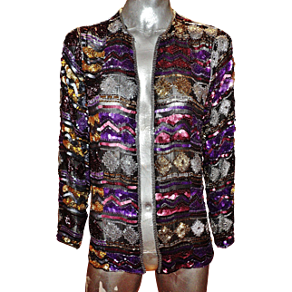 Vintage silk layering heavily embellished evening opera jacket beads & sequins embroidery