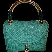 Vintage 1950's Koret France Leather/crochet double handbag  bamboo Gold overlay handle & hardware