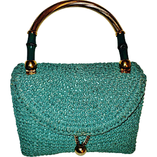 Vintage 1950's Koret France Leather/crochet double handbag  bamboo Gold overlay handle & hardware