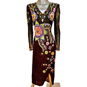 Vintage Hollywood Regency edge silk Heavily embellished gown fully beaded sequined floral design 1970's