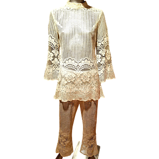 Vintage 1960's handmade fillet needle bobbin lace ensemble bell bottom/tunic