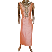 Vintage 1960's Ballet Pink  silk shantung embellished gown pearls and beads with rhinestones