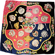 Vintage Signed  Eve Stillman Iconic hand rolled large silk scarf Limited edition 1960 famous Helms Estate