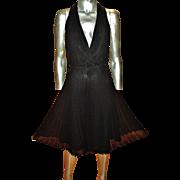 Vintage Anne Klein silk cross over pleat dress Marilyn Monroe Some like it hot scene in black