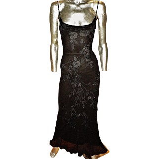 Vintage Sue Wong Beaded open fillet embroidery Silk bias gown