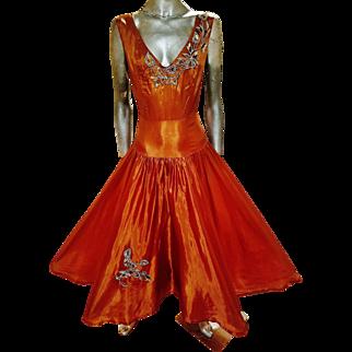 Vintage 1940's Bronze Satin soie gown gold embellished beads flower design
