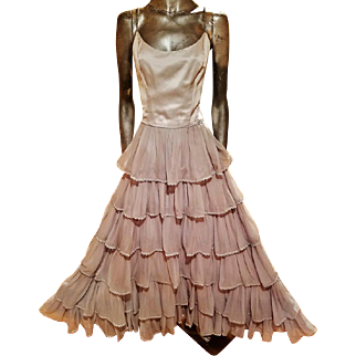 Vintage Monirs Couture design Silk ruffled silver gown layered crystal straps