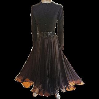 Vintage Geoffrey Beene evening couture gown silk/wool button front bodice/sequin belt
