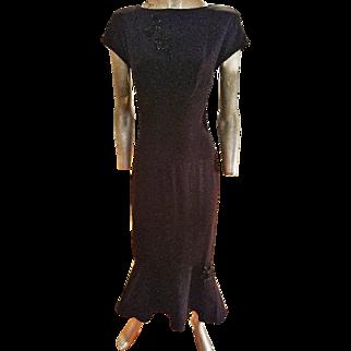 Vintage karl Lagerfeld crepe embellished dress 1980's doing 1930's