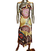 Vintage Alberto Makali dress silk screen high low beaded single shoulder Milano