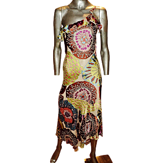 Vintage Alberto Makali dress silk screen high low beaded single shoulder Milano