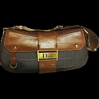 Authentic Christian Dior denim/leather shoulder/handbag Gaucho style  retail $750