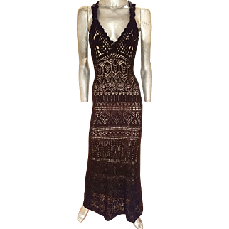 Vintage Vince Camuto Crochet illusion gown body flattering beauty