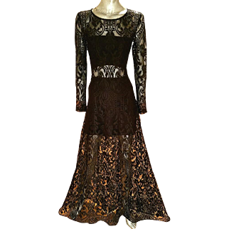 Vintage Alexis Runway Couture finish all lace maxi gown illusion bodice & skirt