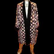 Vintage Stone painted ethnic Kimono purple violet cotton /linen blend one size
