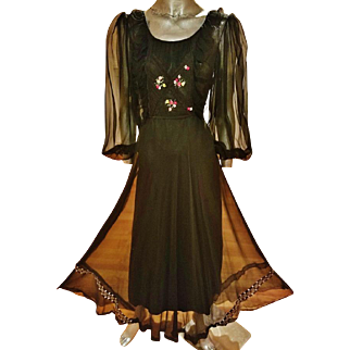Vintage 1960's French Campagne embroidered silk chiffon maxi gown bouffant sleeves