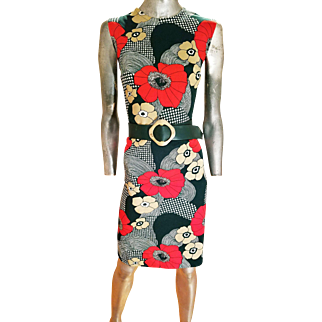 Vintage 1960's Forever Young/by Puritan knit wiggle dress tortoise buckle belt