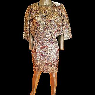 Vintage 1950's Gold Lame' Brocade ensemble wiggle dress sash belt Tux boat neck jacket large button