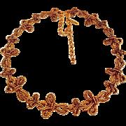 Oscar de la Renta Iconic 1973 signed modernist gold plated heavy long necklace