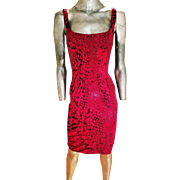 Vintage St. John Evening shimmer dress red/cerise alligator print body con