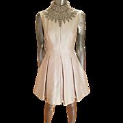 Vintage 1950 silk shantung Seaton Ltd heavy embellished Plisse' dress muslin lined British Crown Colony Hong Kong