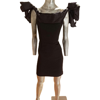 Vintage victor Costa for Bergdorf Goodman organza crepe cocktail dress with bow details