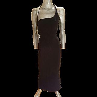 Vintage Vera Wang Couture single shoulder detail maxi evening gown