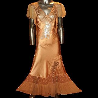 Vintage 1930 silk peau de soie bias dress nightgown hand embroidered tambour lace maxi silk chiffon ruffles