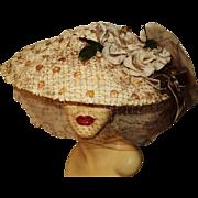 Vintage 1940 Flo-Ray Original Platter Hat Wide Brim Marguerite Millinery Flower Mesh
