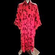 Vintage Natori Cheongsam Cipao floral dress/kimono crepe satin