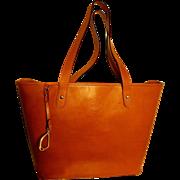 Vintage Ralph Lauren Camel leather large tote bag gold plated metal hardware signature logo