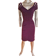 Vintage St. John Couture purple braided body con runway amazing dress