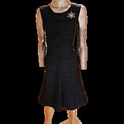 Blumarine Anna Molinari 1990's raw silk dress with Austrian Crystal embroidered flower design