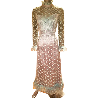 Vintage 1960's Royal Lynne Tulle Satin Rhinestone Gown made in the Royal Crown Colony of Hong Kong
